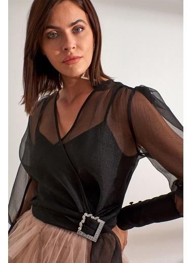 Setre  Balon Kol Tokalı Kruvaze Bluz Siyah